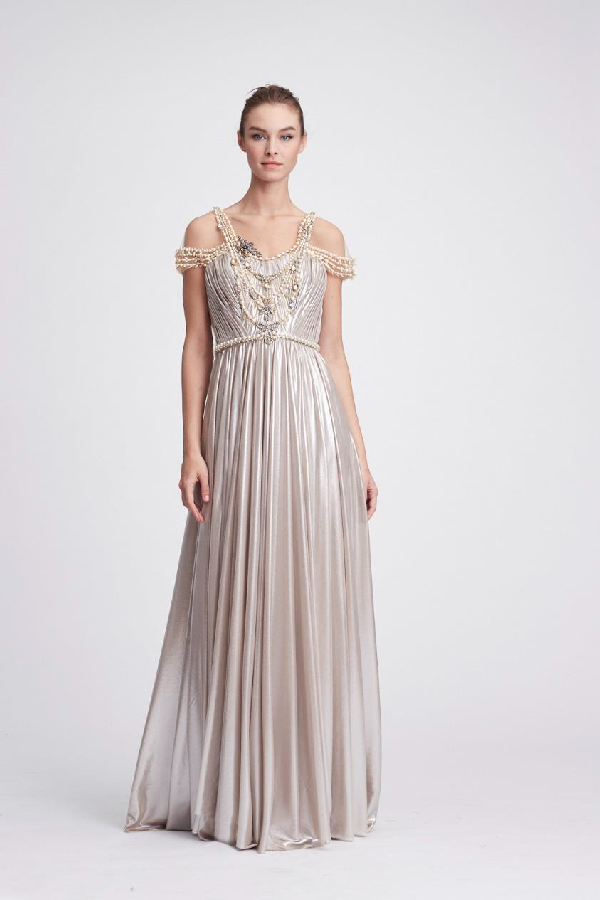 7b2a3d61 Marchesa Resort 2018-19 Couture Crystal And Jewel Lame Evening Gown In  Oyster