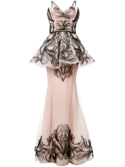 Marchesa Embroidered Sleeveless Tule Gown In Blush