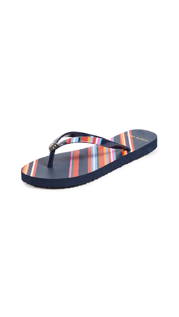 11e8b24be823d Tory Burch Printed Thin Flip Flops In Vivid Stripe