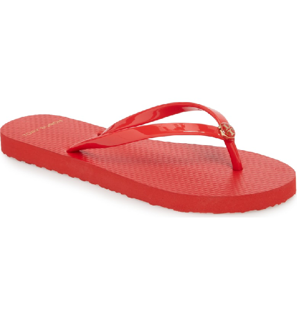93cbde5f642e A gilded double-T medallion adds a dash of flash to this casual essential.  Style Name  Tory Burch Logo Flip Flop (Women). Style Number  5535175.