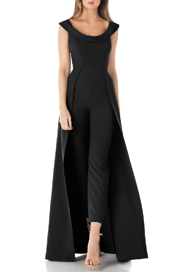 214b890dffa Kay Unger New York crepe jumpsuit with skirt overlay. Approx. 62