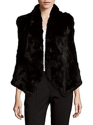 Alice And Olivia 'kensie' Draped Genuine Rabbit Fur Vest In Black