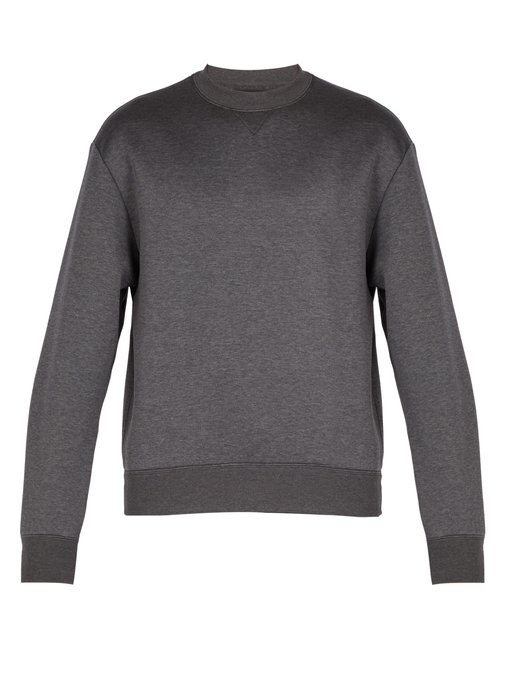 f9c8664c87 Pintucked-Sleeve Cotton-Blend Sweatshirt in Dark Grey