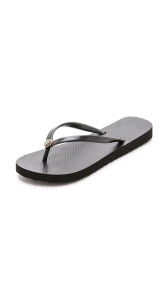 Tory Burch Thin Flip Flops In Black