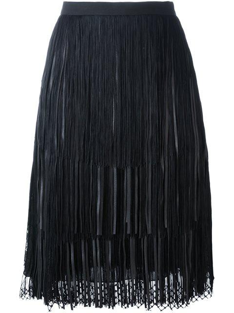 Elie Saab Mesh Hem Pleated Skirt In Black
