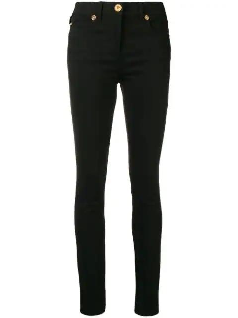 Versace Logo Stripe Skinny Jeans  In Black