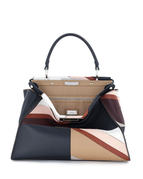 36013ce10032 Fendi Peekaboo Large Leather-Trimmed Patchwork Calf Hair Tote In Multi