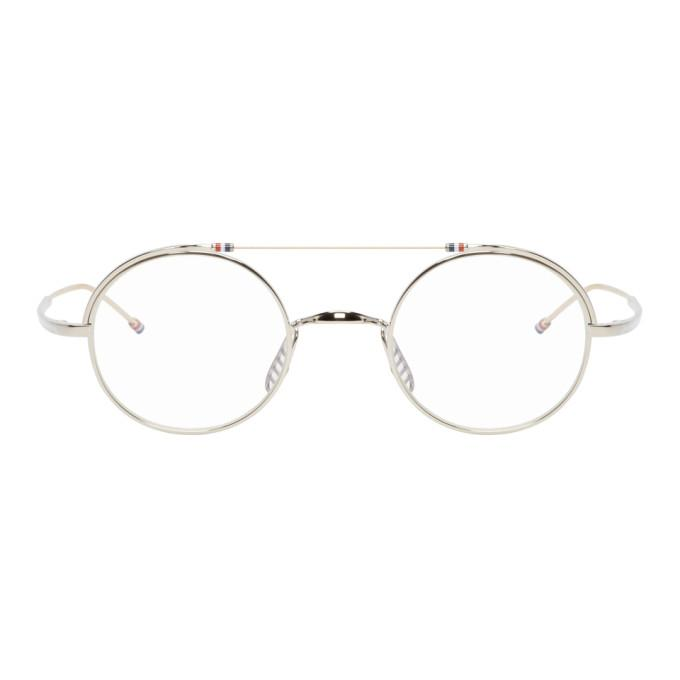 3f6afec504a1 Thom Browne Silver And Gold Tb-910 Glasses In Silver Whtg