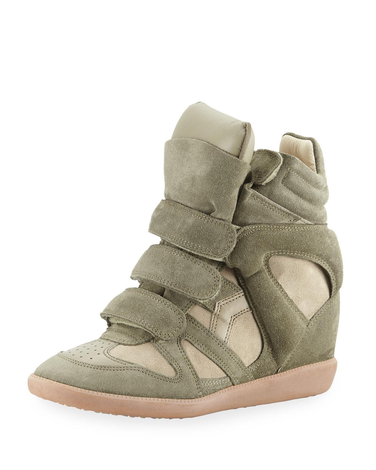 44b44bbdd1 Isabel Marant Beckett Suede Grip-Strap Wedge Sneakers In Green ...