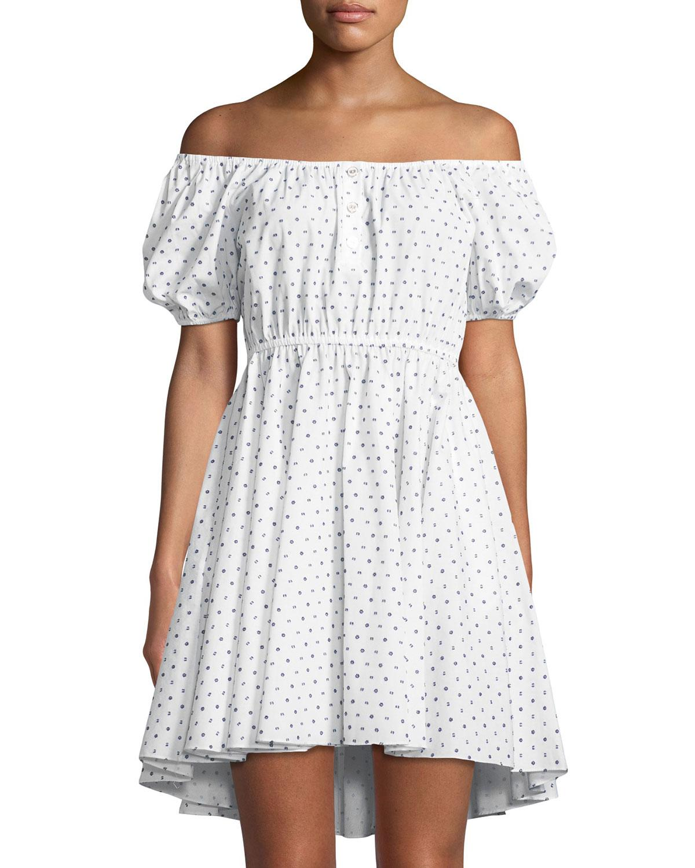 dfd0343b2f Caroline Constas Bardot Polka-Dot Puff-Sleeve Dress In White/Black ...