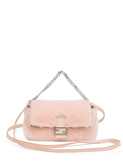 FENDI BAGUETTE MICRO SHEARLING FUR SHOULDER BAG f921e4ce027b2