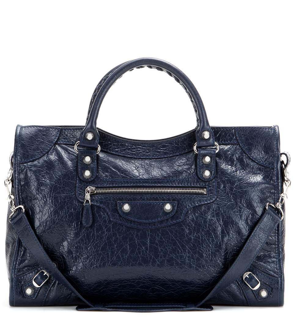 Balenciaga Giant 12 City Leather Tote In Blue Pattern