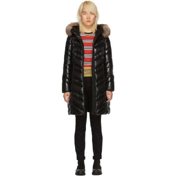 35092768e Albizia Quilted Down Coat With Fur-Trimmed Hood in Black