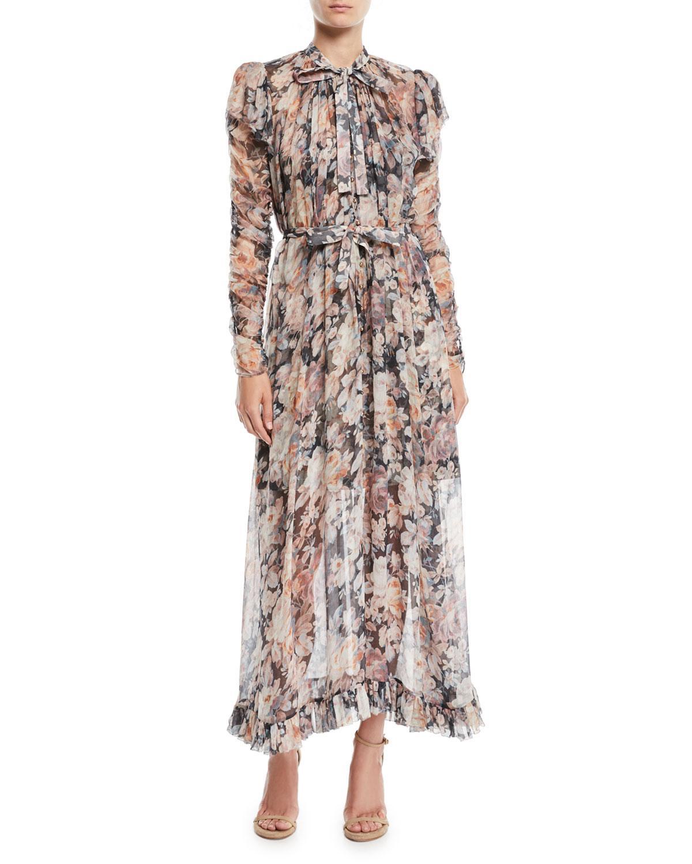 3756739c0dd778 Zimmermann Tempest Frolic High-Neck Floral Silk Maxi Dress In Neutrals