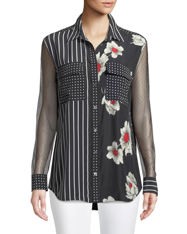 df3819d09a2910 Equipment Mix Media Signature Floral-Print Silk Button-Down Blouse In True  Black Multi