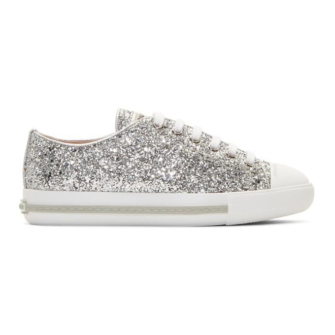 4375c15bf699 Miu Miu Silver Glitter Sneakers In F0118Silver | ModeSens