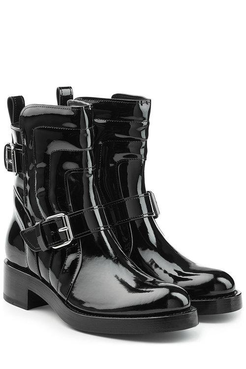 Pierre Hardy Patent Leather Ankle Boots In Black
