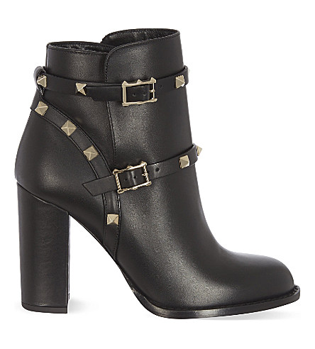 d336a70177e37 Valentino 70Mm Rockstud Leather Ankle Boots, Black   ModeSens