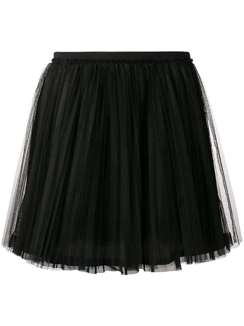 16287fbedd Red Valentino Pleated Point D'Esprit Tulle Mini Skirt In Black ...