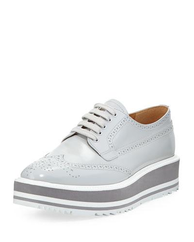 Prada Platform Brogue-Trim Leather Oxford In Grey