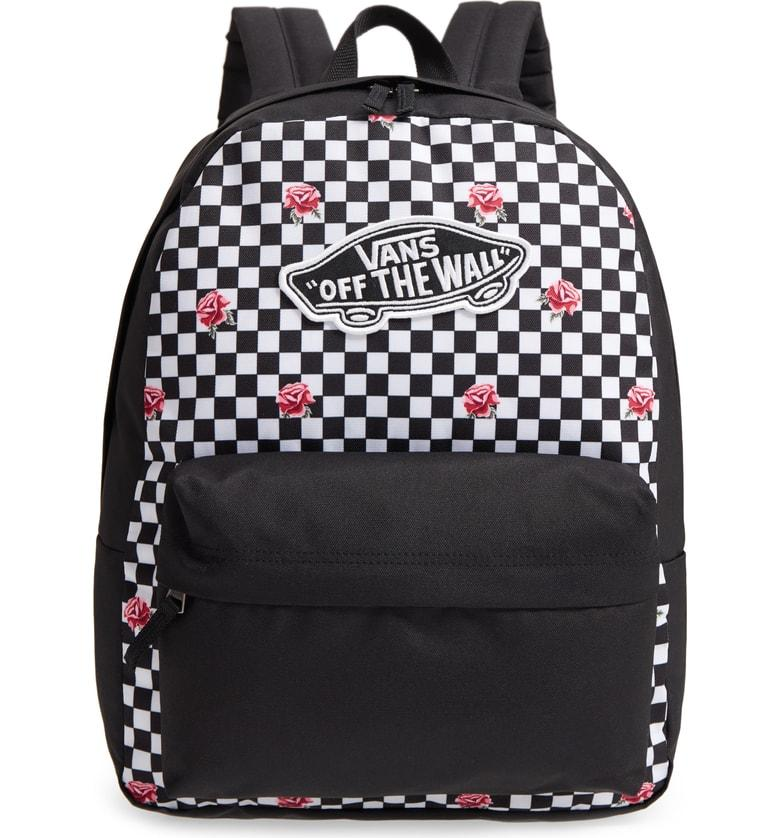 071956a34f Vans Realm Backpack - Black In Rose Checkerboard