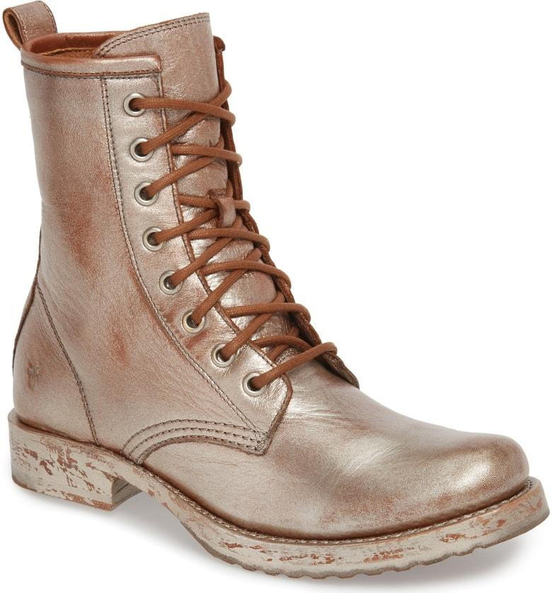 89f1ce8c8a2 Women's Veronica Metallic Leather Combat Boots in Saddle Metallic Leather