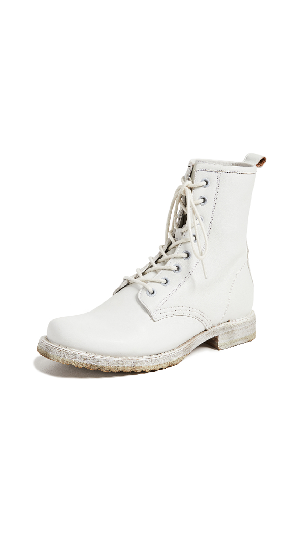 504e45dc177 Women's Veronica Round Toe Leather Combat Booties in White