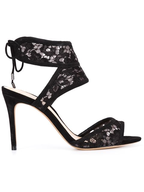 Alexandre Birman Lace Stiletto Sandals In Black