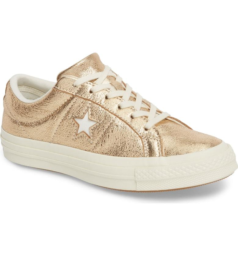 0189f3a28ac An optic-white cutout shines as bright as the metallic crackle finish  cladding a sporty-cool sneaker in a bumper cupsole. Style Name  Converse  One Star ...