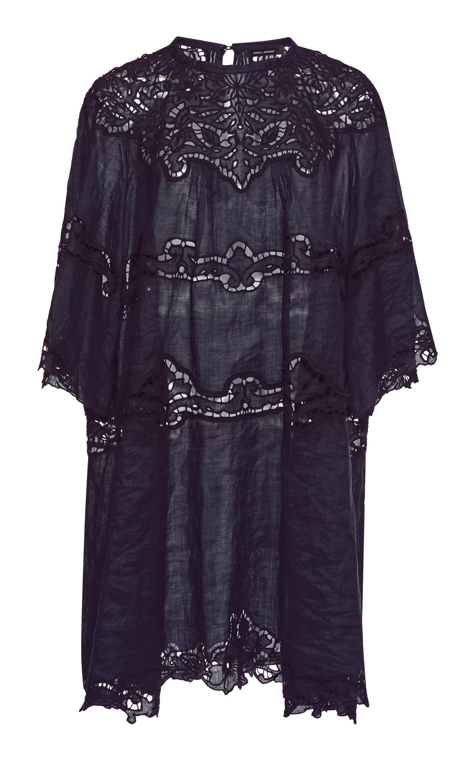 f4b7da08ea9063 Isabel Marant Marlone Lace-Trimmed Ramie Dress In Black | ModeSens