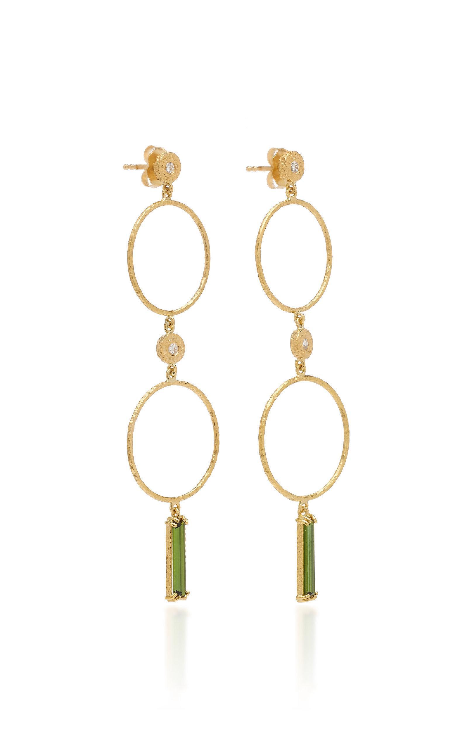 e21f09134 Octavia Elizabeth Nesting Gem Tourmaline And 18K Gold Drop Earrings In Green