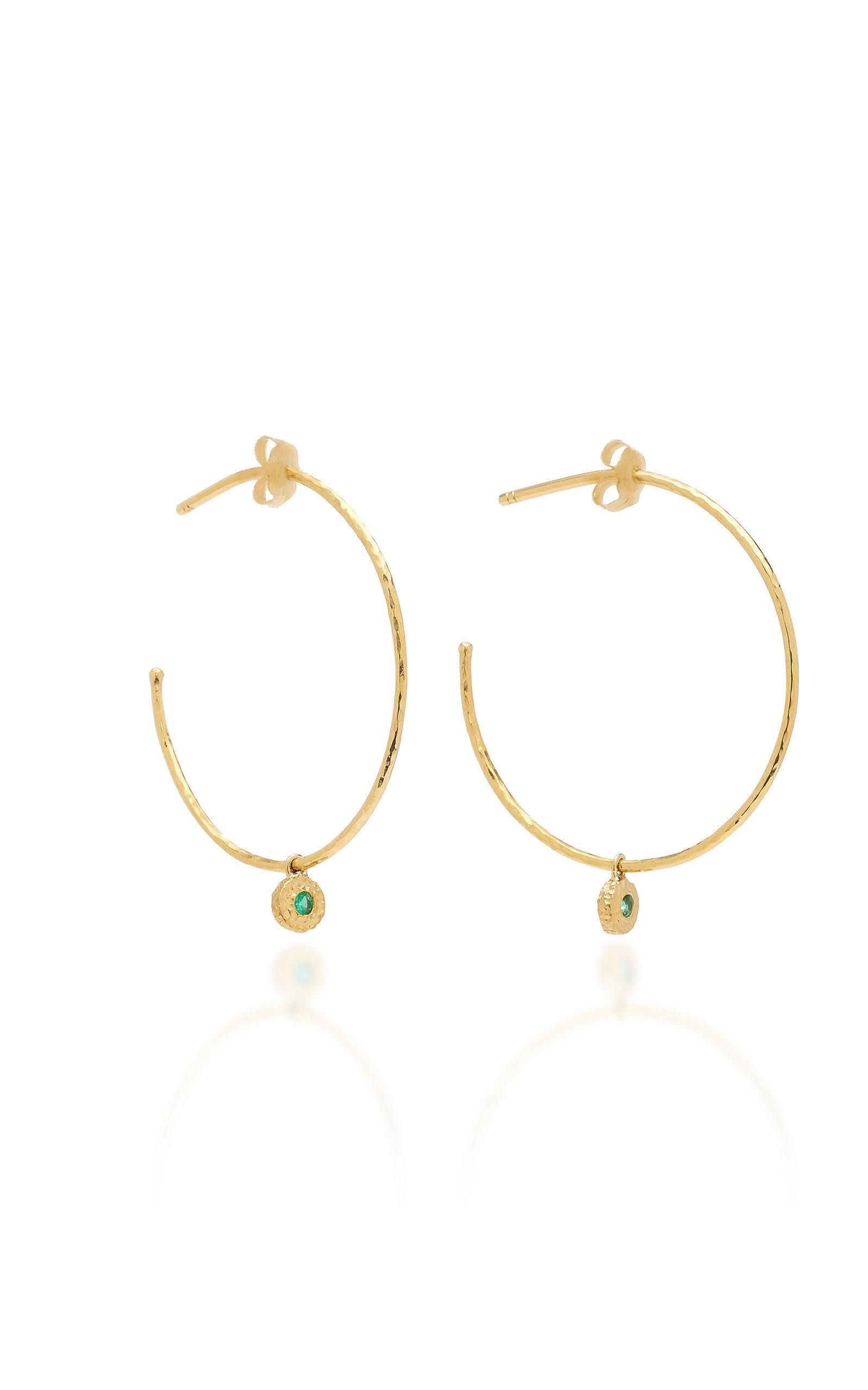 c79d9e78a Octavia Elizabeth Nesting Gem Emerald And 18K Gold Hoop Earrings In Green