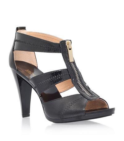 Michael Michael Kors Berkley Patent-Leather Heeled Sandals In Black