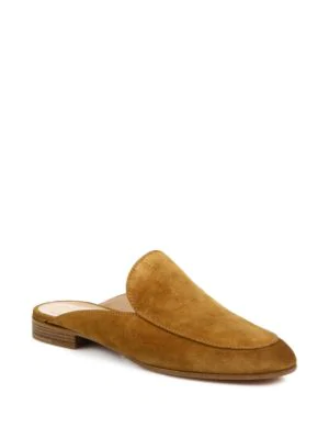Gianvito Rossi Suede Loafer Slides In Almond