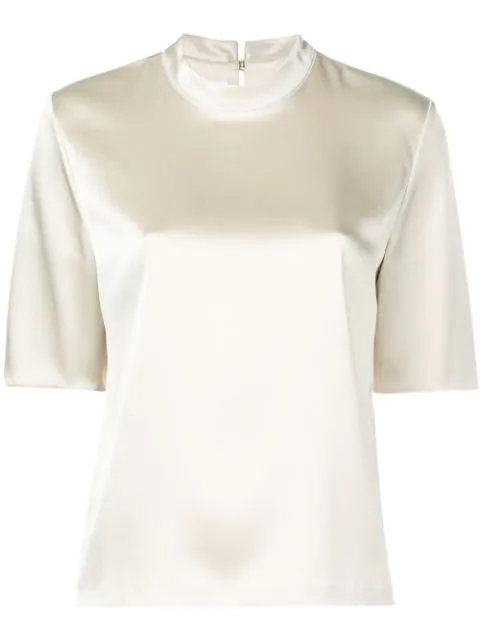 Nanushka Kaden Satin T-shirt In Neutrals