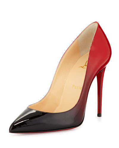 separation shoes 17ab0 1e457 Red And Black Patent Leather 'Pigalle Follies 100' Degrade Pumps in  Black/Red