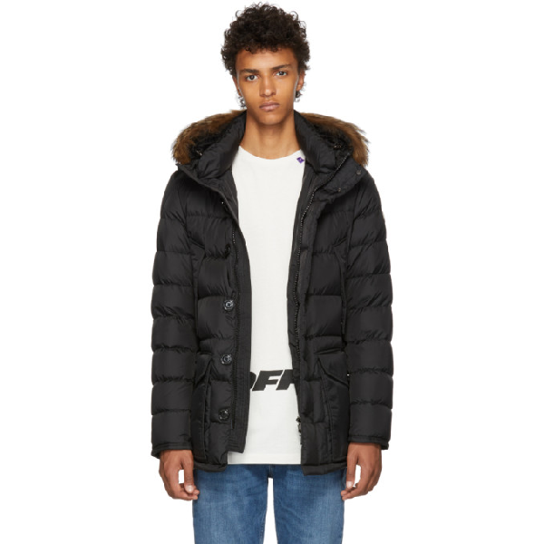 7baff240f7714 Moncler Cluny Nylon Puffer Jacket With Fur Hood In Black | ModeSens