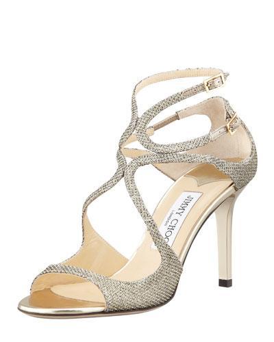 Jimmy Choo Ivette Glitter Fabric Crisscross Sandal, Light Bronze, Gold
