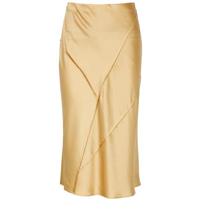 10f3344774cca3 Vince Light Gold Bias-Cut Silk Satin Skirt