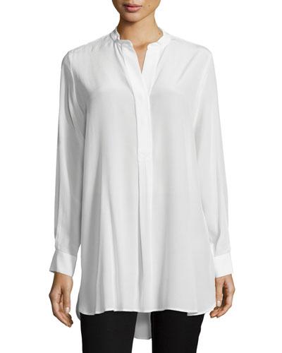 60647e2791220 Joseph Lara Stand-Collar Silk Crepe De Chine Shirt In Ivory