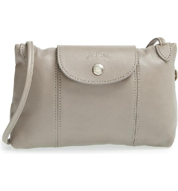 Le Pliage - Cuir Crossbody Bag - Grey In Pebble