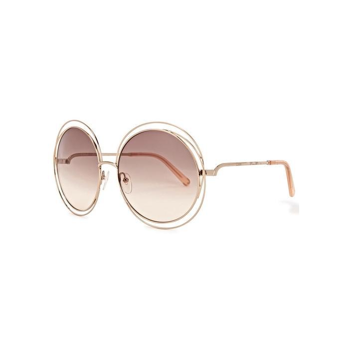 818c626b6459 ChloÉ Carlina Gold Tone Round Frame Sunglasses