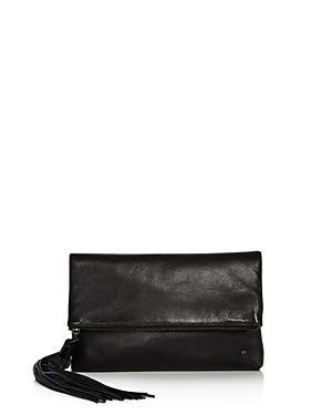 f242ca078 Halston Heritage Christie Leather Foldover Clutch In Black/Gunmetal ...
