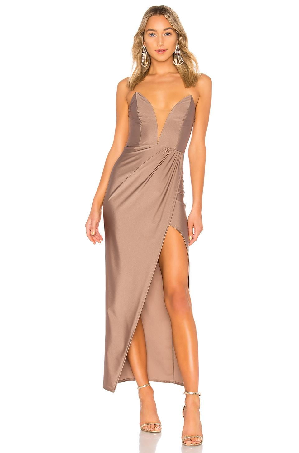 Michael Costello Jake Gown In Taupe