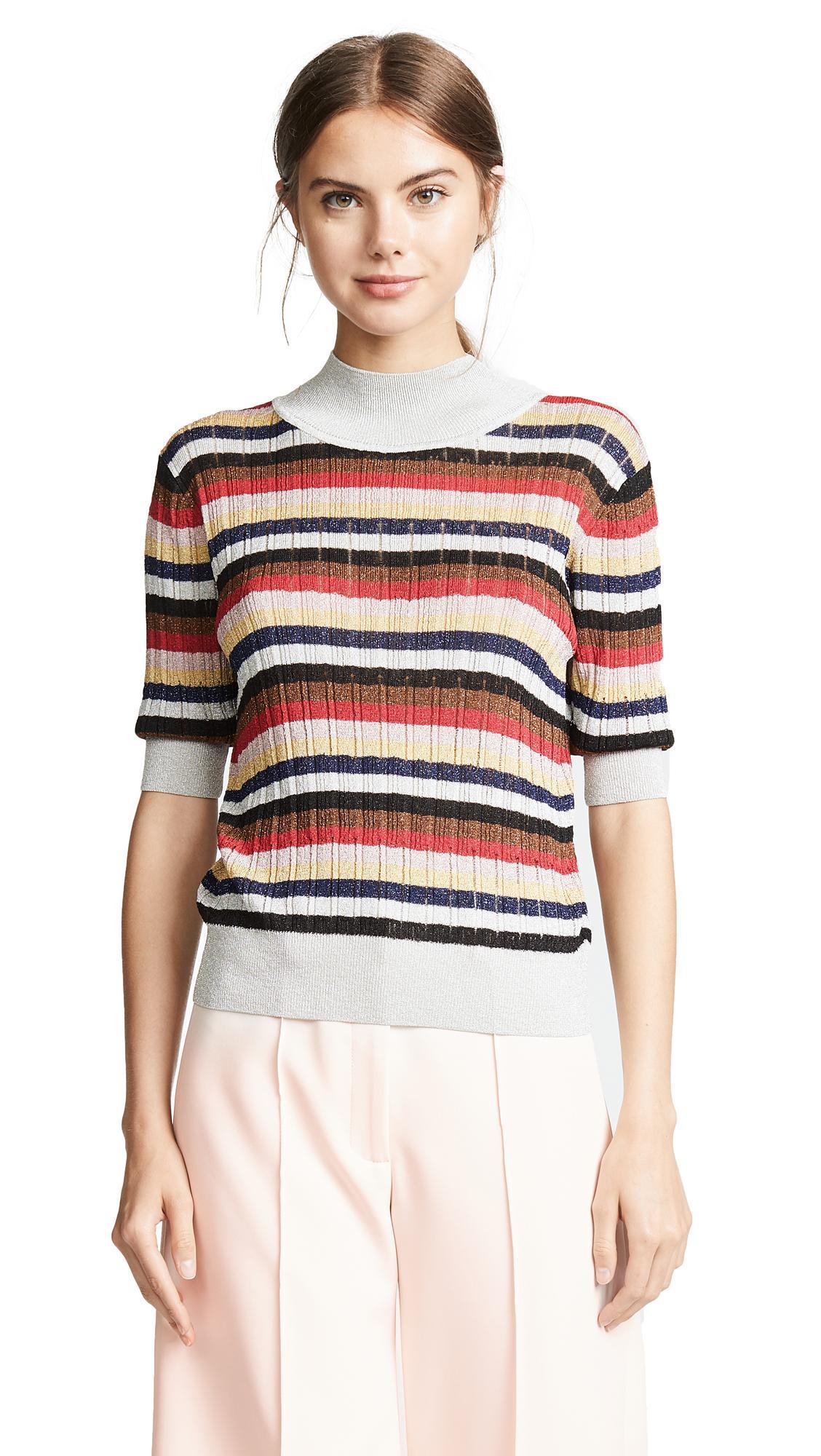 32dd63b036e74 Sonia Rykiel Multicolor Striped Knit Top In Metallic