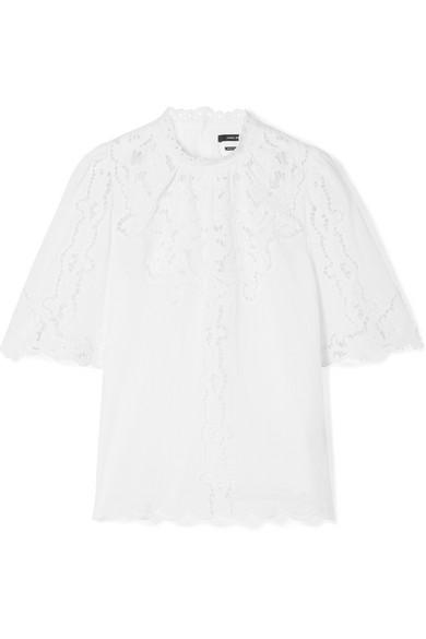 e03d8397f6 Isabel Marant Mumba Broderie Anglaise And Ramie Top In White | ModeSens