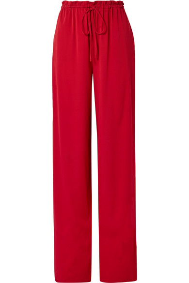 The Row Jr Stretch-Silk Georgette Wide-Leg Pants In Claret