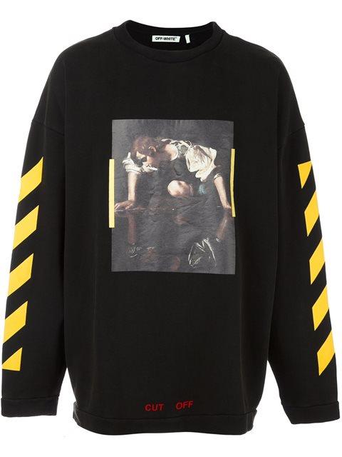 ef53b32677d4 Off-White  Painting  Print Striped Sweatshirt In Black