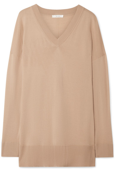 The Row Petah Stretch-Silk Georgette Blouse - Flamingo In Sand