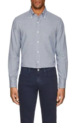 Loro Piana Micro-check Sport Shirt In Navy